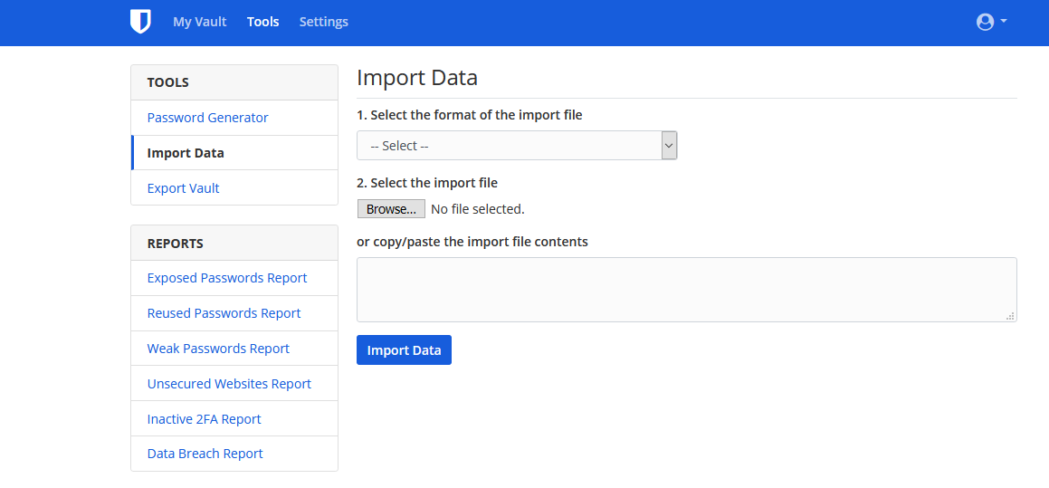 "Bitwarden ""Import Data"" section"